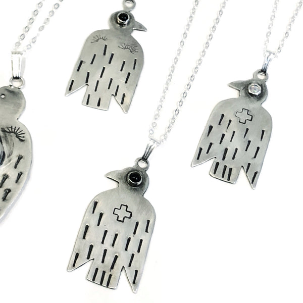 Silver & Stone Thunderbird Necklaces by Temple Silver