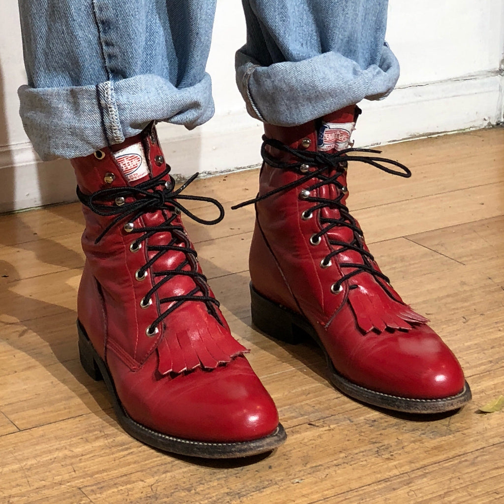 bf743d44865 Fire Engine Red Lace Up Justin Roper Boots