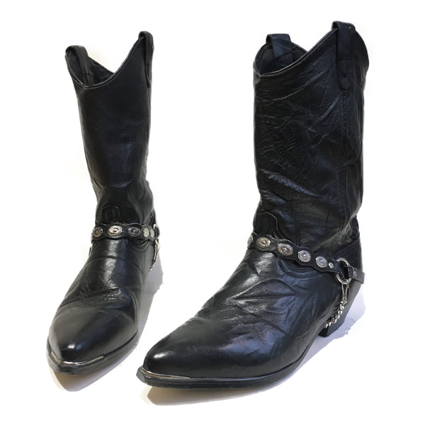 Black Leather Harness Boots with Conchos, Chain and Metal Toe Cap