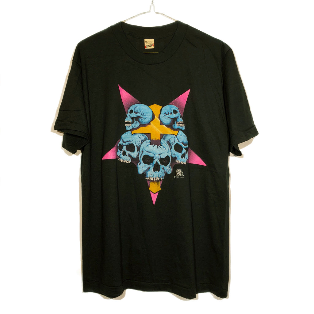 Paper Thin Pentagram Skulls and Crucifix 80s Tee
