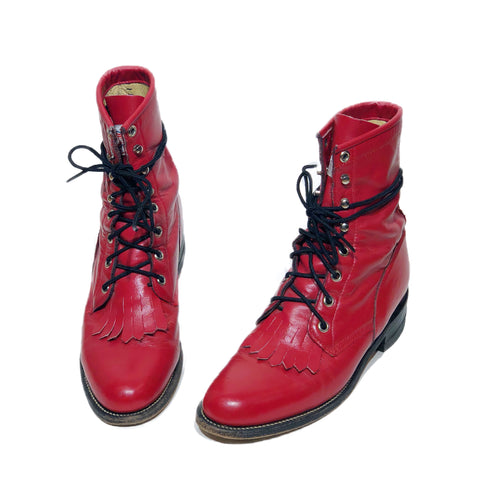 Fire Engine Red Lace Up Justin Roper Boots