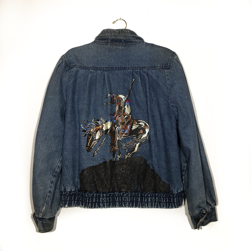 "Hand Painted ""Wounded Knee"" Vintage Denim Jacket"
