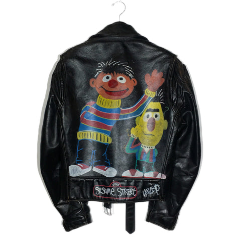 Hand Painted Vintage Bert & Ernie Leather Jacket