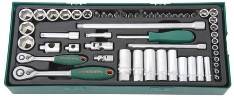 "56 PIECE 1/4"" & 3/8""DRIVE 6PT FLANK SOCKET SET"