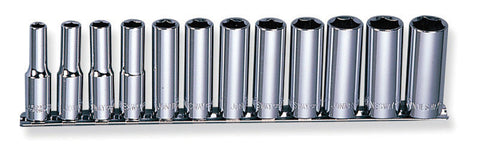 "12 PIECE 3/8"" DRIVE 6 POINT DEEP SOCKET SET- METRIC"