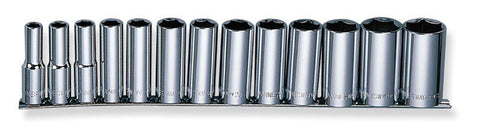 "13 PIECE 1/2"" DRIVE 6 POINT DEEP SOCKET SET - METRIC"