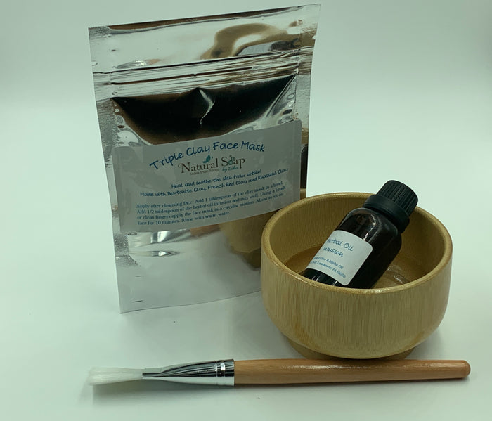 Triple Clay Face Mask & Applicator Kit