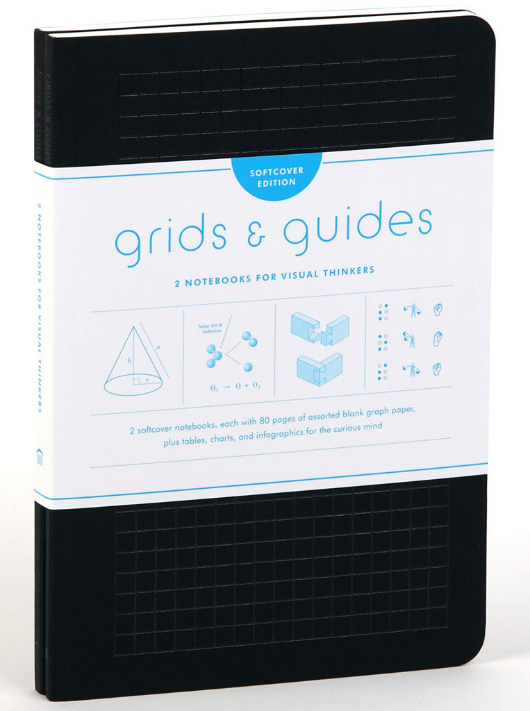 Grids & Guides Black Notebook Softcover 2-Pack
