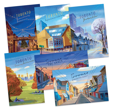 Artist Angela Pan's incredible set of 6 postcards depicting iconic Toronto neigbourhoods. Kensington Market, Toronto Reference Library, Bellwooods, The Annex, Honest Ed's, for TCAF!