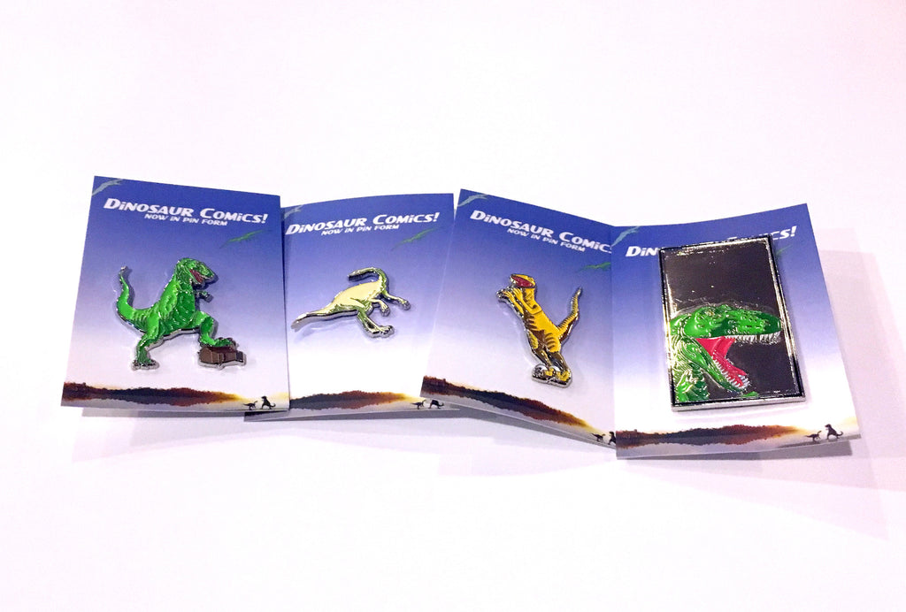 Dinosaur Comics 4 Pin Set, by Ryan North!
