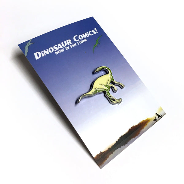 "Dinosaur Comics ""Dromiceiomimus"" Enamel Pin, by Ryan North"