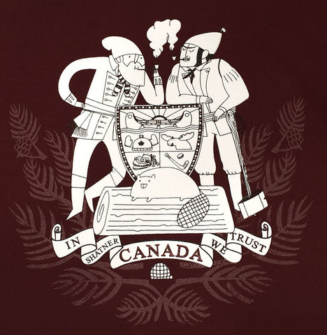 Kate Beaton's CANADA T-Shirt - Exclusive Dark Red Colourway - Small