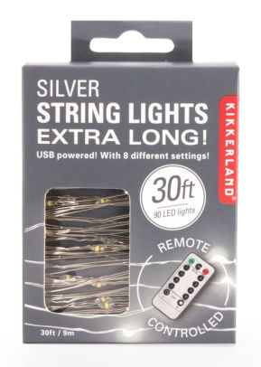Kikkerland Extra Long Silver String Lights