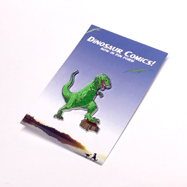 "Dinosaur Comics ""T-Rex Stomping"" Enamel Pin by Ryan North"
