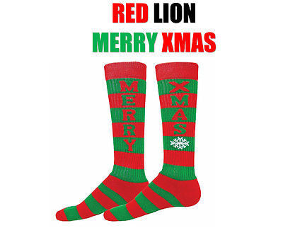 RED LION MERRY XMAS CHRISTMAS HOLIDAY SNOWFLAKE SPORTS CREW OVER THE CALF SOCKS
