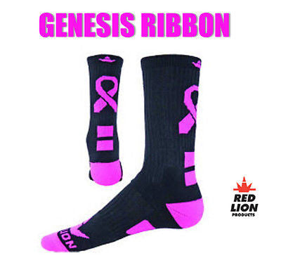 RED LION GENESIS RIBBON SOCKS AWARENESS CANCER CREW BASKETBALL VOLLEYBALL