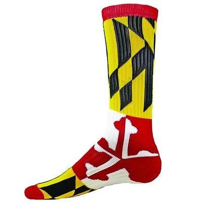 NEW RED LION MARYLAND RED WHITE YELLOW BLACK CREW SOCKS