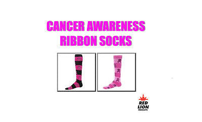 RED LION RIBBON RUGBY SOCKS AWARENESS CANCER KNEE HIGH SOCCER, BASKETBALL