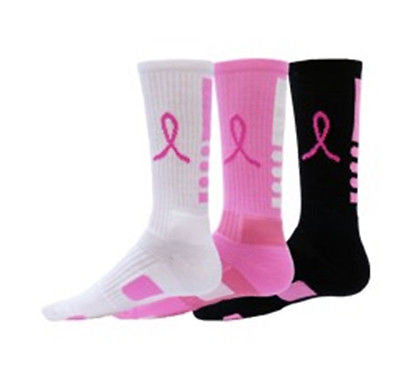 RED LION RIBBON LEGEND SOCKS  CANCER AWARENESS CREW BASKETBALL SOCKS