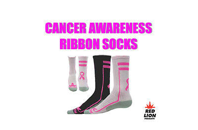 RED LION RIBBON APEX SOCKS AWARENESS CANCER CREW SOCCER, BASKETBALL SOCKS