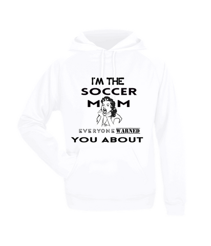 LONG SLEEVE FLEECE HOODIE SOCCER MOM WARNED JERSEY SHIRT LADIES