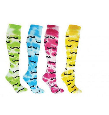 NEW RED LION TIE DYED MUSTACHE KNEE HIGH SPORTSOCKS SOCCER BASKETBALL VOLLEYBALL