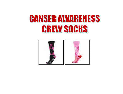 RED LION RIBBON ARGYLE CREW  CANCER AWARENESS KNEE HI SOCCER, BASKETBALL SOCKS