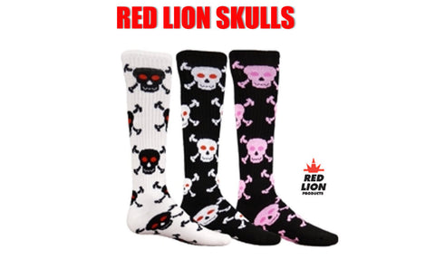 RED LION SKULLS KNEE HIGH ATHLETIC SOCKS SOCCER BASKETBALL VOLLEYBALL