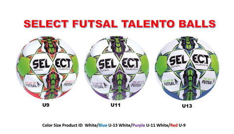 2016 SELECT SOCCER BALL, FUTSAL BALL  TALENTO BALL U9 RED U11 PURPLE U13 BLUE