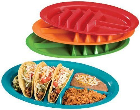 Jarratt Industries, Fiesta Taco Plates, Microwave and Dishwasher Safe, Assorted Colors, Set of 4 Plastic Taco Plates Outdoor Or Indoor Use
