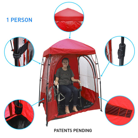 EasyGoProducts CoverU Sports Outdoor Portable Shelter – 1 Person Weather Tent Pod (RED) – Patents Pending