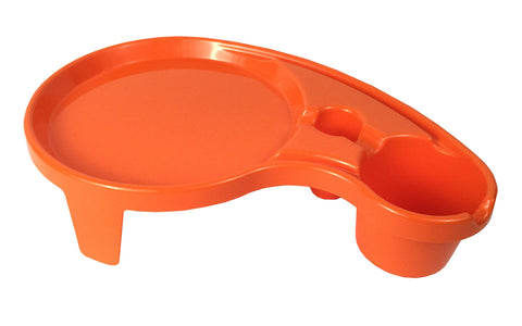Arron Kelly - Party Pals - One Handed Drink Holder, Napkin, Cutlery & Food Serving Tray with Hidden Handle - Orange - Outdoor Or Indoor Use