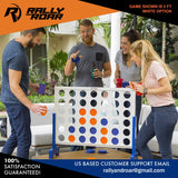 4 to Score - Premium Wooden Four Connect Game Set in 4' White Wood by Rally & Roar - Oversized Family Outdoor Party Games