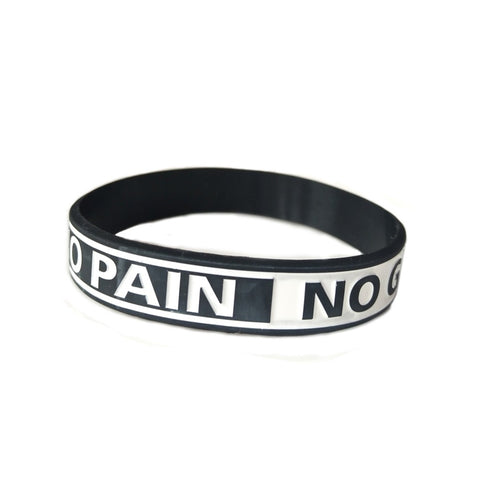 NO PAIN NO GAIN Motivational Wristband - Black Band, White Letters- Sports, School, Work, One size fits all