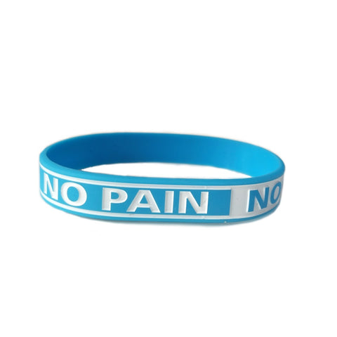 NO PAIN NO GAIN Motivational Wristband - Light Blue Band, White Letters- Sports, School, Work, One size fits all