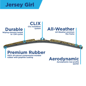 "CLIX Jersey Girl Precison Fit Click-on Wiper Blades - 18"" 16"