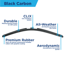 "Load image into Gallery viewer, CLIX Black Carbon Precison Fit Click-on Wiper Blades - 18"" 16 - AutoTex"