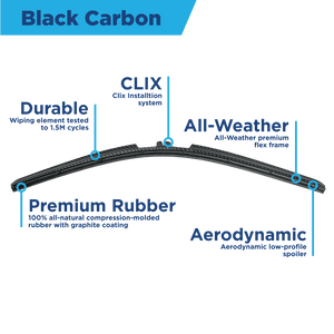 "CLIX Black Carbon Precison Fit Click-on Wiper Blades - 22"" 22 - AutoTex"