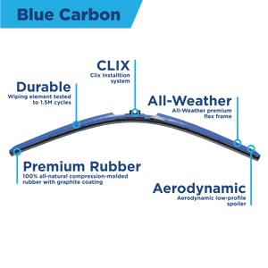 "CLIX Blue Carbon Precison Fit Click-on Wiper Blades - 24"" 16 - AutoTex"