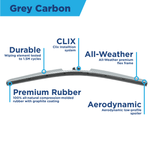 "CLIX Grey Carbon Precison Fit Click-on Wiper Blades - 20"" 16 - AutoTex"