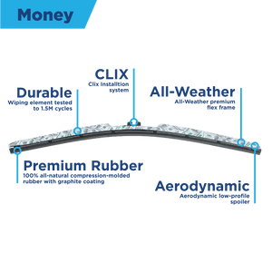 "CLIX Money Precison Fit Click-on Wiper Blades - 20"" 16 - AutoTex"