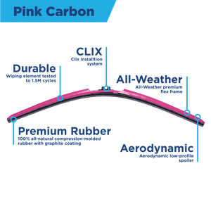 "CLIX PINK Precison-Fit Two Pack Click-on Wiper Blades - 26"" 18"" - Fit Small Top Button Wiper Arms - AutoTex"