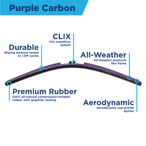 "CLIX Purple Carbon Precision Fit Click-on Wiper Blades - 28""28 - AutoTex"