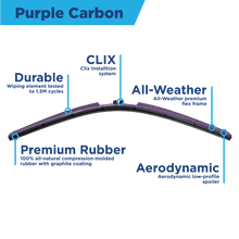 "Load image into Gallery viewer, CLIX Purple Carbon Precison-Fit Two Pack Click-on Wiper Blades - 16"" 14"" - AutoTex"