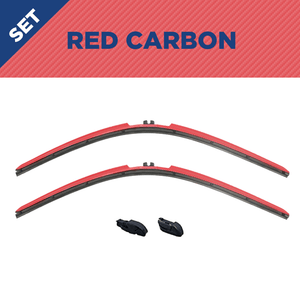 "CLIX Red Carbon Precison-Fit Two Pack Click-on Wiper Blades - 26"" 18"" - Fit Small Top Button Wiper Arms - AutoTex"