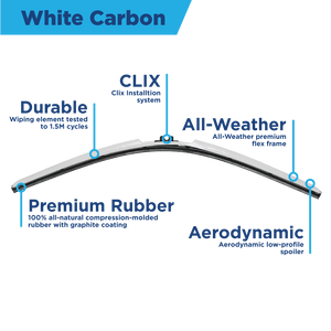"CLIX White Carbon Precison Fit Click-on Wiper Blades - 22"" 18 - AutoTex"