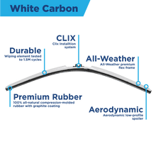 "Load image into Gallery viewer, CLIX White Carbon Precison-Fit Two Pack Click-on Wiper Blades - 14"" 14"" - AutoTex"
