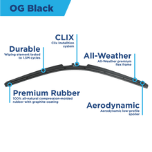 "Load image into Gallery viewer, CLIX Wipers Precison-Fit Two Pack Click-on Wiper Blades - 26"" 20"" - Fits 16mm and 19mm Top Button wiper arms - AutoTex"