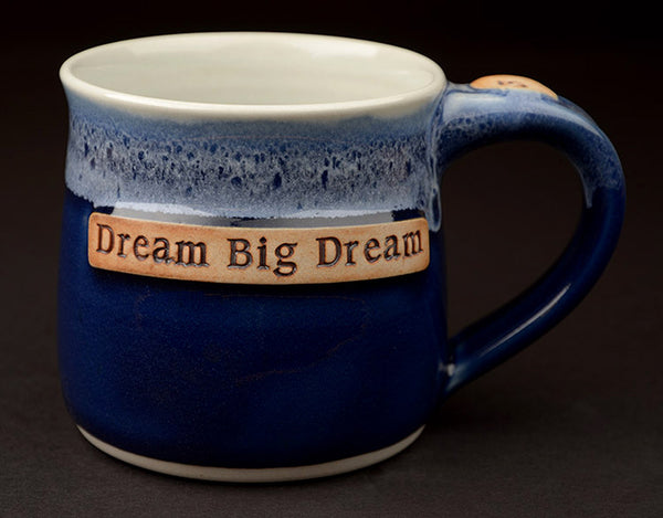 12 oz. blue mug with personalization.