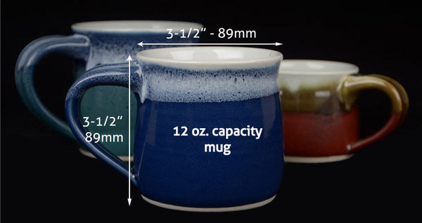 The 12 oz. size is perfect for the coffee or tea drinker who is used to a regular sized mug.